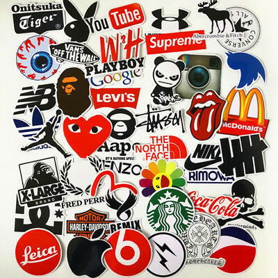 46PCS Stickers Vinyl Skateboard Guitar Travel Case Pack Tide Brand Logo Decals