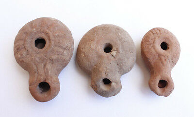 Three Ancient Greco Hellenistic terracotta oil lamps,1st century BC.