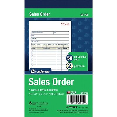 Adams Sales Order Book, 2-Part, Carbonless, White/Canary, 4-3/16 x 7-3/16 Inches