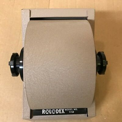 Vintage ROLODEX 1753 Light Brown  Metal Rotary Flip Card File w/ Index Cards