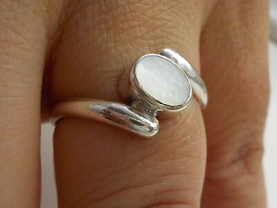Silver Ring with Mother Of Pearl Metal Detecting Find
