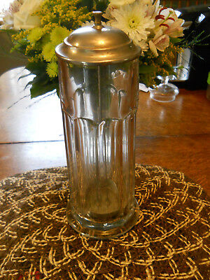 Antique Early 1900's Soda Fountain 11.5 Inch Glass Straw Holder Dispenser
