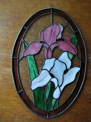 Decorative Stained Glass Window Panel Oval Iris