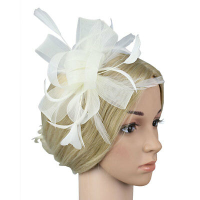 Hair Clip Feathers Small Mini Top Hat Wedding Fascinator Royal Ascot Race Beige