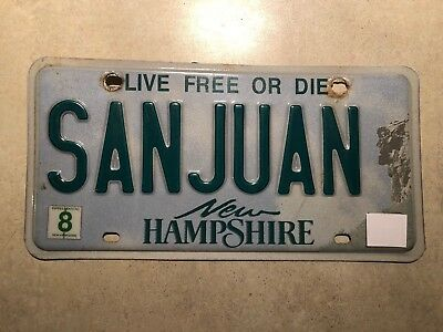NH New Hampshire vanity/personalized license plate - SAN JUAN   Puerto Rico