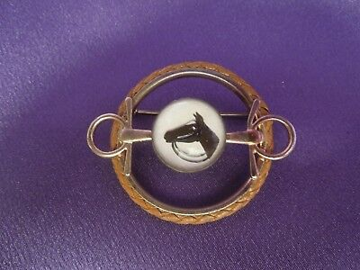 Vintage Equestrian Horse Bridle Brooch Pin Leather Detail