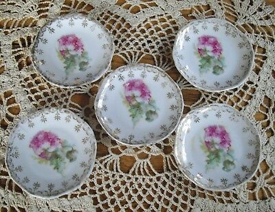 "Vintage Porcelain  Butter Pat 3"" Plates  ~ Set of 5 ~"