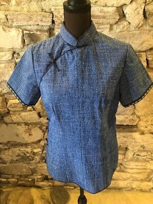 Traditional Chinese Blue & White Heavy Woven Overblouse Size S