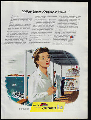 1944 Vintage Print Ad 40's NASH KELVINATOR i hear voices strangely young WWII