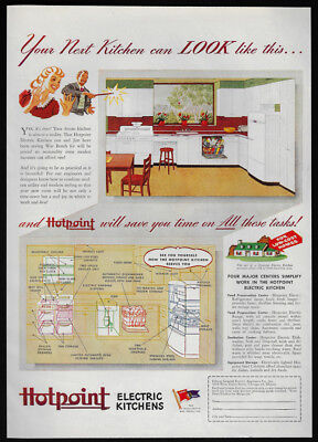 1944 Vintage Print Ad 40's HOTPOINT electric kitchen home decor modern