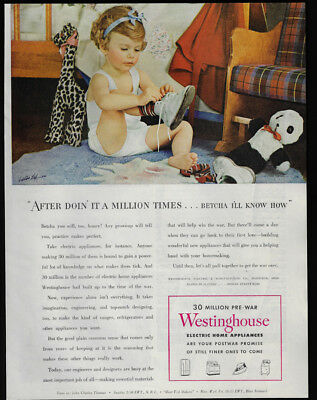 1944 Vintage Print Ad 40's WESTINGHOUSE electric home appliances girl ties shoes