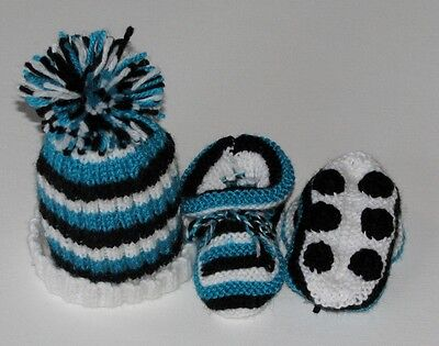 HAND KNITTED PORT ADELAIDE FOOTBALL BABY BEANIE & BOOTIES SET 0- 3 Months
