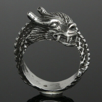 Dragon GOT Goth Biker Gothic Wicca Lost Wax Cast Sterling Silver 925 Ring Sz 6