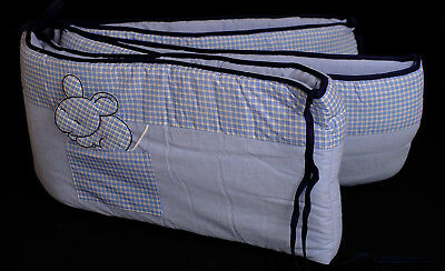 New 14 Piece Baby Boys Crib Bedding Lot Chambray and Blue Check Made in France