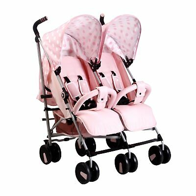 My Babiie MB22 Twin / Double From Birth Baby Folding Stroller - Pink Polka
