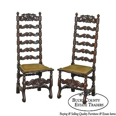 Italian Renaissance Revival Antique Pair Carved Walnut High Ladder Back Chairs