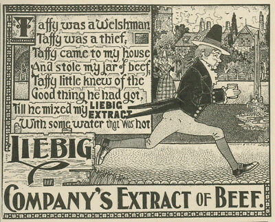 Liebig Beef Taffy Welshman Thief Running Away With Can 1898 Vintage Magazine Ad