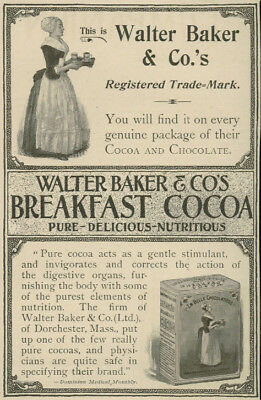 Baker Breakfast Cocoa Maid With Hot Chocolate on Tray 1898 Vintage Magazine Ad