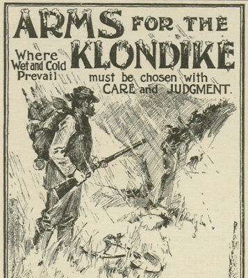 Marlin Repeaters Klondike Gold Rush Man With Backpack 1898 Vintage Magazine Ad