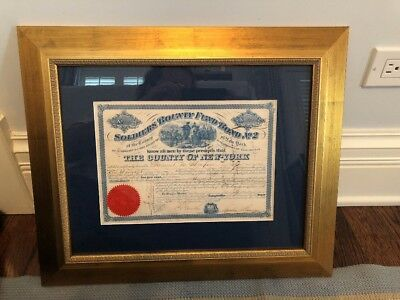 Solidiers Bounty Fund Bond No.2 June 26th, 1864 From The County Of New York.Rare