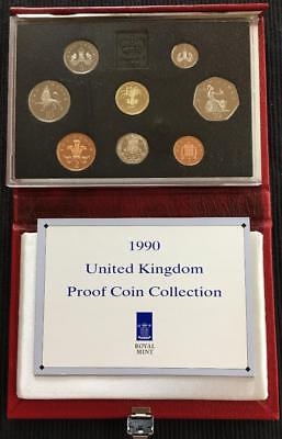 1990 Royal Mint UK Proof Coin Set In Deluxe Red Leather Case With C.O.A