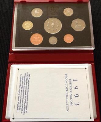 Great Britain 1993 Deluxe Proof Coin Set, Red Case with COA