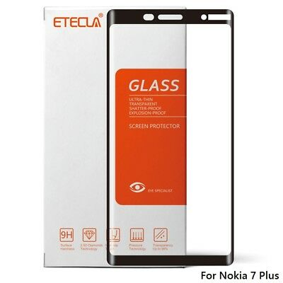 9H Full Coverage BLACK Tempered Glass Screen Protector for NOKIA 7 PLUS