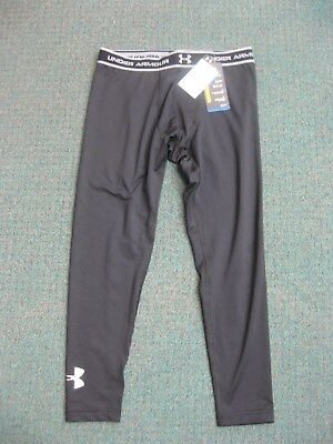 Under Armour Cold Gear Fitted Anti-Odor Black Leggings, Boys, Youth XL, YXL, NEW