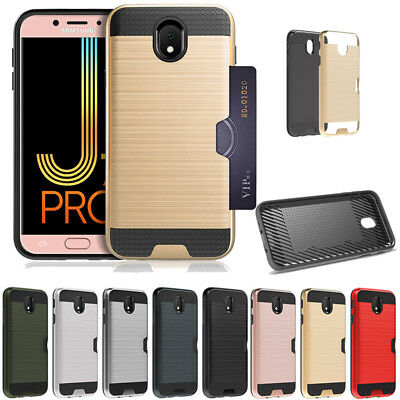 Hybrid Brushed Armor Rubber Card Case Cover for Samsung Galaxy J530 / J730 2017