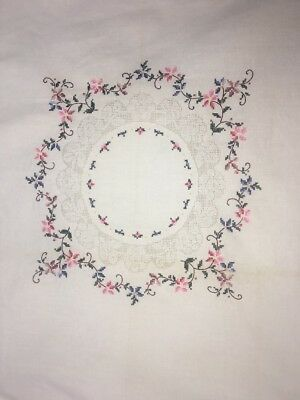Embroidered Cross Stitch Tablecloth White W/Flowers Table Topper Shabby Chic Vtg