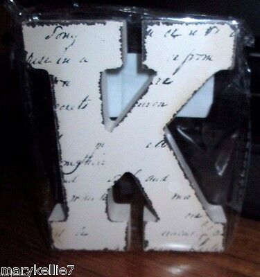 "New Off White Block Letter Blk Handwriting Letter ""k""  4.5""t X 3.75"" W"