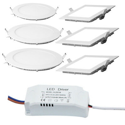 6W 9W 12W Dimmable Led Recessed Downlight Ceiling Panel Light Bulb+LED Driver