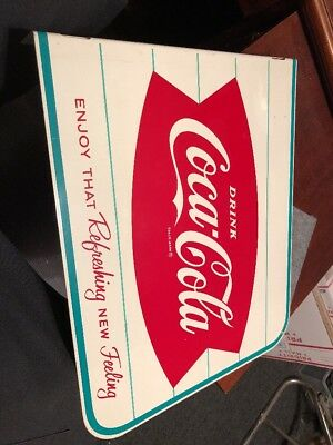 1960s Original Coca-Cola Fishtail Coke Advertising Metal Flange Sign