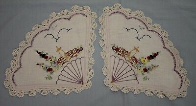 Pair Vintage Hand Embroidered Fan Shaped Floral Doilies