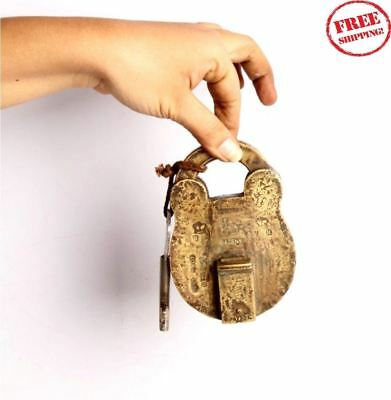 Old Brass Handcrafted Unique Shape V R HAND MADE Tricky Pad Lock 5070