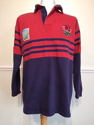 1995 England World Cup Rugby Cotton Traders Red & Navy Away Shirt  Size L