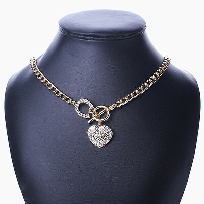 Gold Woman Chain Bling Rhinestone Toggle Clasp Heart Love Pendant Short Necklace