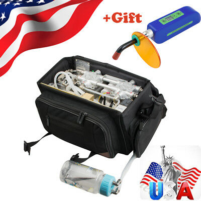 Portable Dental Turbine Unit Bag Compressor Suction Triplex Syringe Curing Light