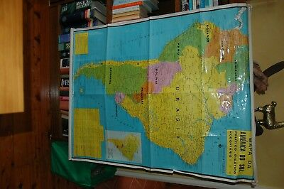 Map South America, detailed, in Spanish, ready to hang, bright legible good cond