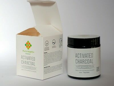 Pure Health Activated Charcoal Teeth Whitening Polish Kit 100% Natural Organic