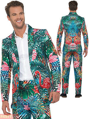 Mens Hawaiian Tropical Flamingo Suit Stag Stand Out Outfit Costume Summer Party