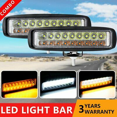 Pair 6inch CREE LED Work Light Bar Flood Lamp Offroad Driving Fog 4WD UTE SUV