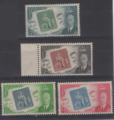 4 x 1952 Barbados Postage Stamps KGVI 100 Years of Stamps 3¢, 4¢, 12¢, 24¢, MH