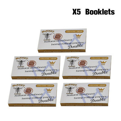 5 Booklets Hornet Double White Wide Natural Smoking Rolling Paper 70*33MM