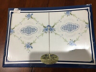 NEW - VINTAGE RETRO boxed pillow cases -embroidered - cotton - collectable -blue