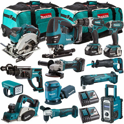 Makita 18V LXT Li-Ion 13pcs Monster Kit With 4 x 4.0Ah BL1840 + DC18RD + 2 x Bag