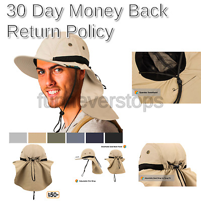 3970055e9 LARGE BILL SUN Hat With Sun Protection Flap STONE - $14.95 | PicClick