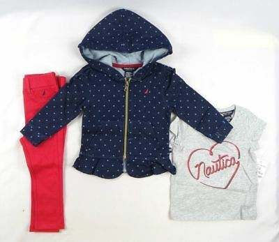 Nautica Baby Girls' 3 Piece Set with Moto Jacket and pants set size 12 months