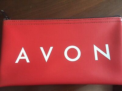 Avon Red Zippered Bank Bag Money Bag with White Letters - NEW - Free/Ship