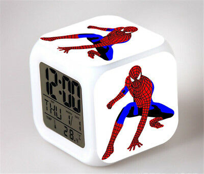 Spiderman 7 Color Change Alarm Clock Digital Glowing Night Light for Kids